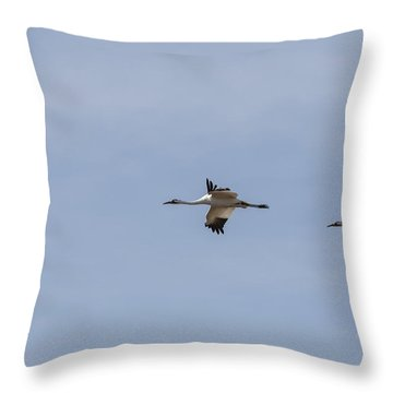 Whooping Cranes In Flight 2015-1 Throw Pillow