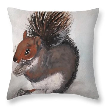 Who's Had Me Nuts Throw Pillow by Carole Robins