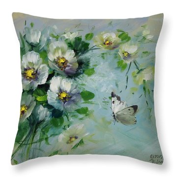 Whte Butterfly And Blossoms Throw Pillow by David Jansen