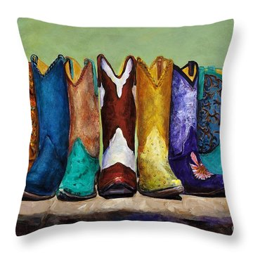 Throw Pillow featuring the painting Why Real Men Want To Be Cowboys by Frances Marino