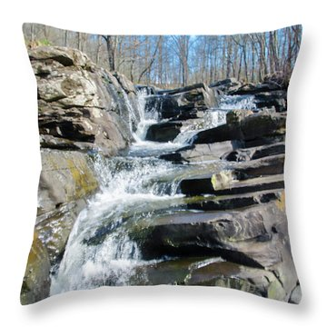 Throw Pillow featuring the photograph  Wickecheoke Creek Waterfall by Bill Cannon
