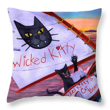Wicked Kitty's Catboat Throw Pillow