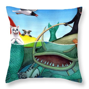 Wicked Kitty's Catfish Throw Pillow
