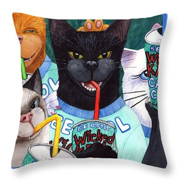 Wicked Kitty's Catnip Cooler Throw Pillow