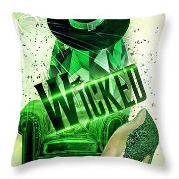 Wicked Throw Pillow by Mo T