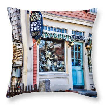 Wicked Peacock At Bear Skin Neck In Rockport Throw Pillow