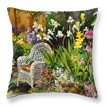 Wicker Chair Throw Pillow