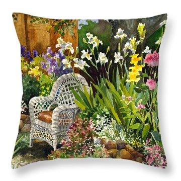 Wicker Chair Throw Pillow by Anne Gifford