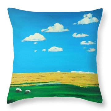Wide Open Spaces And A Big Blue Sky Throw Pillow