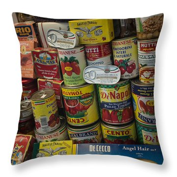Throw Pillow featuring the photograph Wide Variety Of Italian Goods On Display In Little Italy by Jason Rosette