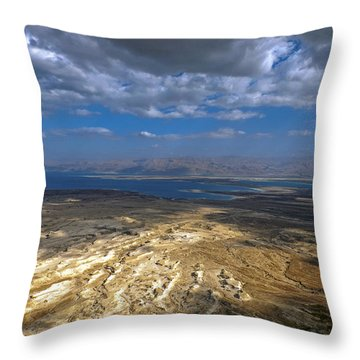 Wide View From Masada Throw Pillow by Dubi Roman