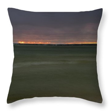 Wide View Of Lighthouse And Sunset Throw Pillow
