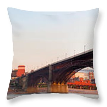 Wide View Of St Louis And Eads Bridge Throw Pillow by Semmick Photo