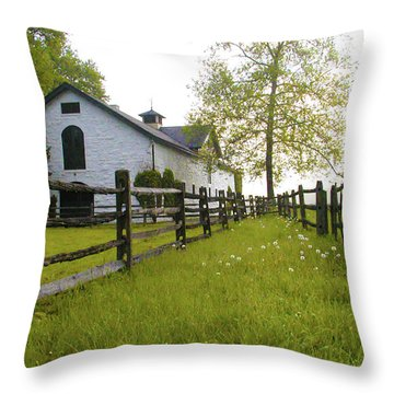 Widener Farms Horse Stable Throw Pillow by Bill Cannon