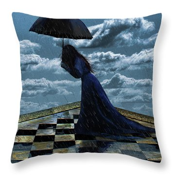 Widow In The Rain Throw Pillow