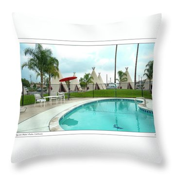 Wigwam Motel California Throw Pillow by Gary Warnimont