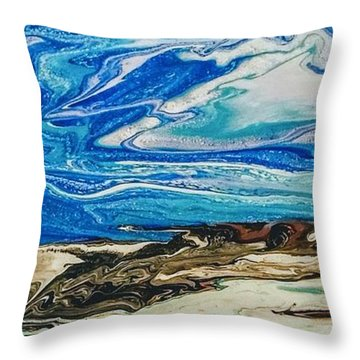 Wiinter At The Beach Throw Pillow