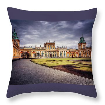 Throw Pillow featuring the photograph Wilanow Palace In Warsaw  by Carol Japp