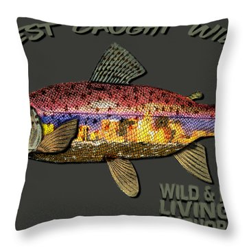 Throw Pillow featuring the digital art Wild And Free In Anchorage-trout With Hat by Elaine Ossipov