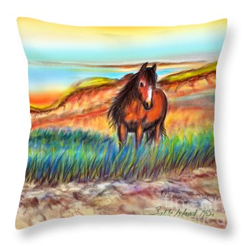 Wild And Free Sable Island Horse Throw Pillow by Patricia L Davidson