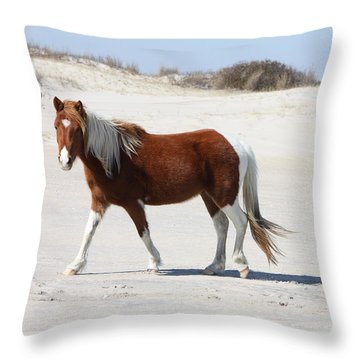 Wild Assateague Ponies 2 Throw Pillow