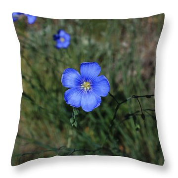 Wild Blue Flax Throw Pillow