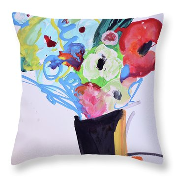 Wild Blue Flowers Throw Pillow