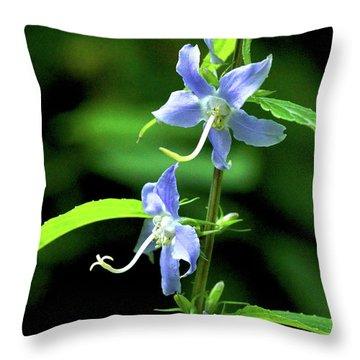 Wild Blue Flowers Throw Pillow