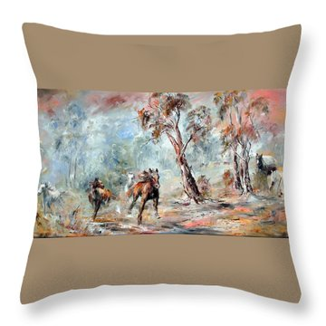 Wild Brumbies Throw Pillow