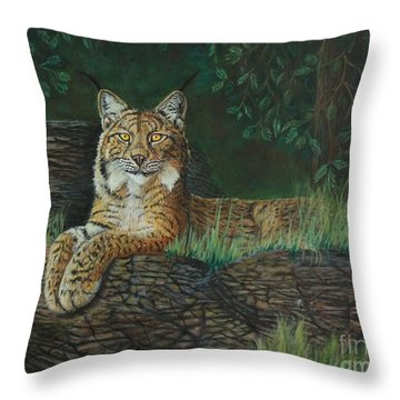 The Ever Watchful Lynx Throw Pillow