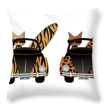 Wild Cats Go Surfing Throw Pillow