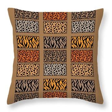Wild Cats Patchwork Throw Pillow