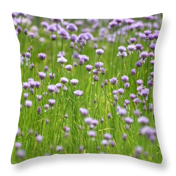 Throw Pillow featuring the photograph Wild Chives by Chevy Fleet