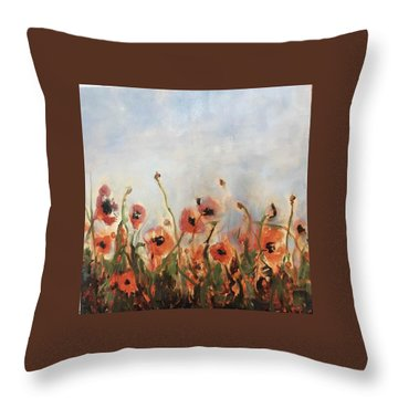 Wild Corn Poppies Underpainting Throw Pillow