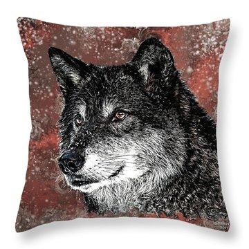 Wild Dark Wolf Throw Pillow