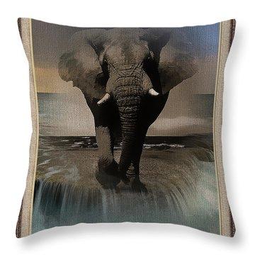 Wild Elephant Montage Throw Pillow