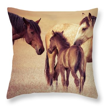 Wild Family Throw Pillow by Mary Hone