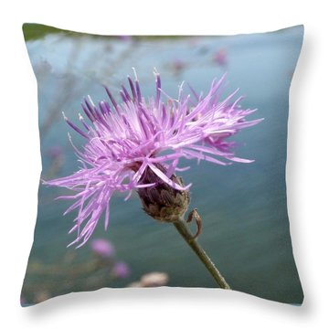 Wild Flower By The Lake Throw Pillow