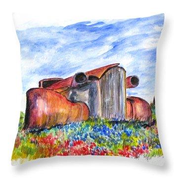 Wild Flower Junk Car Throw Pillow