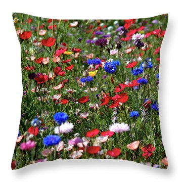 Wild Flower Meadow 2 Throw Pillow