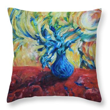 Throw Pillow featuring the painting Wild Flower by Yulia Kazansky