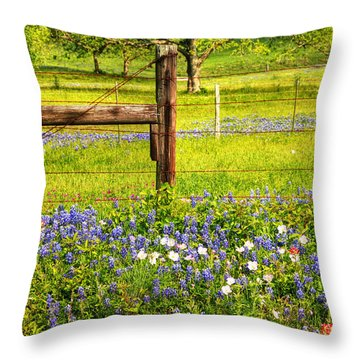 Wild Flowers And A Fence Throw Pillow