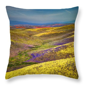 Wild Flowers And Hills Throw Pillow