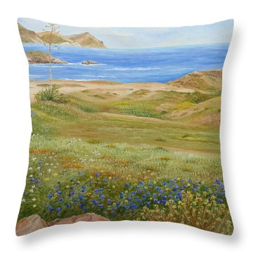 Throw Pillow featuring the painting Wild Flowers by Angeles M Pomata