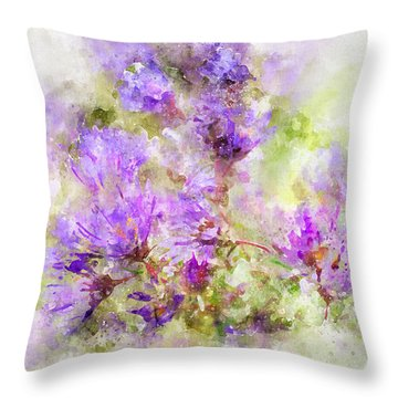 Wild Flowers In The Fall Watercolor Throw Pillow