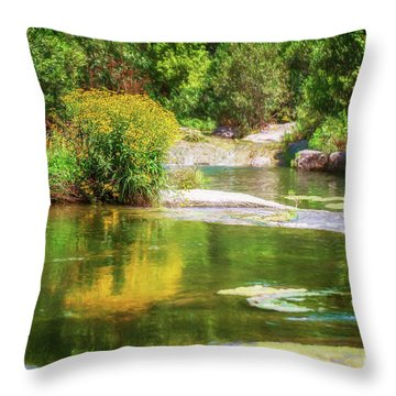 Wild Flowers On Blue River Throw Pillow