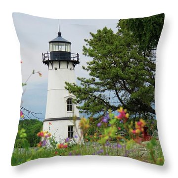 Wild Flowers On Rock Island Throw Pillow