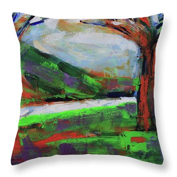 Throw Pillow featuring the painting Wild Flowers On The River Banks by Walter Fahmy
