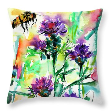 Wild Flowers Thistles And Bees Throw Pillow