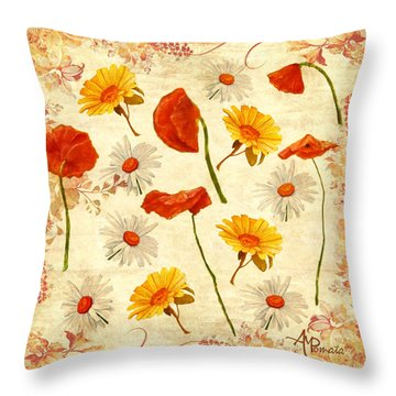 Wild Flowers Vintage Throw Pillow